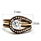 1Ct Cz Rose Gold & Brown Stainless Steel 2 Piece Wedding Ring Set Womens Sz 5-10