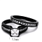 2.10 Ct Princess Cut Zirconia Black Stainless Steel Wedding Ring Set Womens Size 5-10