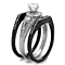 2.15 Ct Halo Round Cubic Zirconia Black Stainless Steel Wedding Ring Set Women's Size 5-10