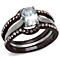 2.15 Ct Oval Cut Cz Brown Ip Stainless Steel Wedding Ring Set Women's Size 5-10