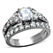 2.50 Ct Round Cut Zirconia Silver Stainless Steel Wedding Ring Set Women's Size 5-10