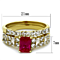 2.64 Ct Emerald Cut Ruby Zirconia 14K Gold Plated Wedding Ring Set Women's Size 5-10