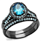 2.65 Ct Sea Blue Cz Halo Gray Stainless Steel Wedding Ring Set Women's Size 5-10