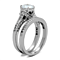 2.75 Ct Round Cut AAA Zirconia Stainless Steel Wedding Ring Band Set Women's Size 5-10