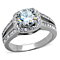 2.95 Ct Halo Round Cut Zirconia Stainless Steel Engagement Ring Band Women's Size 5-10