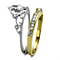2 Tone Princess Royalty Crystal Crown Stainless Steel Wedding Ring Set Size 5-10