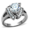 3.1 Ct Round Cut Zirconia High Polished Stainless Steel Engagement Ring Size 5-10