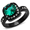3.25Ct Round Cut Blue Zircon & Clear Cz Black Halo Design Fashion Ring Size 5-10