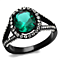 3.26Ct Blue Zircon Halo Cz Black Stainless Steel Engagement Ring Women's Sz 5-10