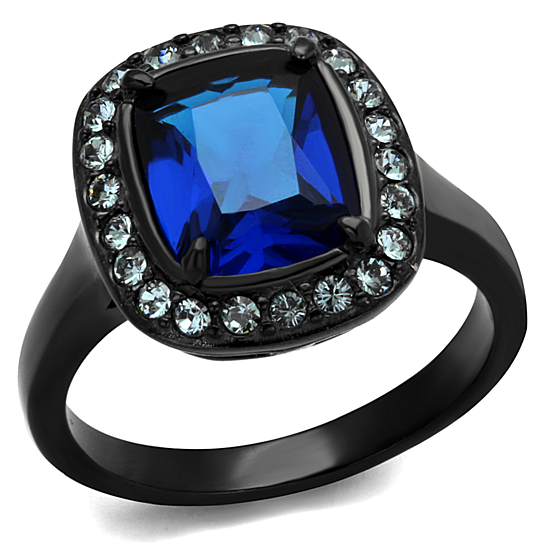 Buy 3 9 Ct Montana Cz Halo Stainless Steel Black Engagement Ring Women s