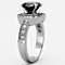 3 Ct Round Cut Faux Black Diamond Stainless Steel Halo Engagement Ring Size 5-10
