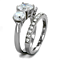 4.17Ct Round Cut 3 Stone Stainless Steel Engagement & Wedding Ring Set Size 5-10