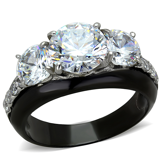 Buy 4 45 Ct Round Cut Aaa Cz Black Stainless Steel Engagement Ring Women