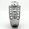 4.85 Ct Round Cut Zirconia Stainless Steel Wide Band Engagement Ring Sizes 5-10