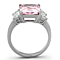 6.64 Ct Emerald Cut Rose Zirconia Stainless Steel Engagement Ring Womens Sz 5-10