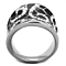 Black Epoxy & Stainless Steel 316 Crystal Cocktail Fashion Ring Women's Size 5-10