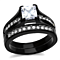 Black Ion Plated Stainless Steel His (6 mm Width) & Hers 3pc Wedding Engagement Ring Band Set