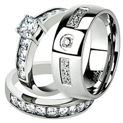 Buy His Hers 3 Piece Engagement Wedding Ring Set 925 Sterling