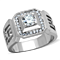 Men's 1.10 Ct Round Cut Simulated Diamond Silver Stainless Steel Ring Size 8-13