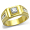 Men's 1.18 Ct Faux Diamond Stainless Steel 14K Gold Ion Plated Ring Sizes 8-13