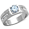 Men's 1.75 Ct Round Cut Simulated Diamond Silver Stainless Steel Ring Sizes 8-13