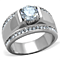 Men's 2.25 Ct Round Cut Simulated Diamond Silver Stainless Steel Ring Sizes 8-13