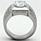 Men's 2.94 Ct Round Cut Simulated Diamond Silver Stainless Steel Ring Sizes 8-13