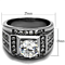 Men's 4.03 Ct Round Cut Simulated Diamond Silver Stainless Steel Ring Sizes 8-13