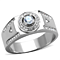 Men's .50 Ct Round Cut Simulated Diamond Silver Stainless Steel Ring Size 8-13