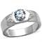 Men's .87 Ct Round Cut Simulated Diamond Silver Stainless Steel Ring Size 8-13