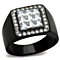 Men's Princess Cut Simulated Diamond Stainless Steel Black Plated Ring Size 8-13