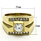Men's Stainless Steel 14K Gold Ion Plated 1.26 Ct Simulated Diamond Ring Size 8-13