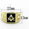 Men's Stainless Steel 14K Gold Ion Plated Crystal Masonic Lodge Freemason Ring Size 8-13