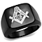 Men's Stainless Steel Black Ion Plated Masonic Lodge Freemason Ring Band Sz 8-13