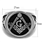 Men's Stainless Steel Tusk 316 & Epoxy Masonic Lodge Freemason Ring Band Sz 8-13