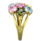 Multi-Color Crystal Gold Ip Stainless Steel Cocktail Flower Ring Women's Sz 5-10