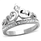 Princess Royalty Crystal Crown Silver Stainless Steel Fashion Ring Women's 5-10