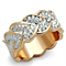 Rose Gold Plated Stainless Steel Crystal Hearts Eternity Fashion Ring Size 5-10