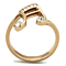 Rose Gold Plated Stainless Steel Crystal Musical Note Fashion Ring Women's Size 5-10