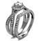 Round Cut .81 Ct Zirconia Stainless Steel Halo Wedding Ring Set Womens Size 5-10