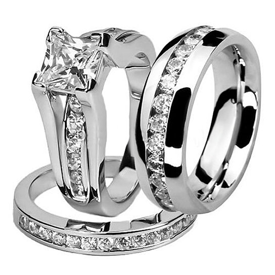 Buy Stainless Steel Hers And His Princess Wedding Ring Set And