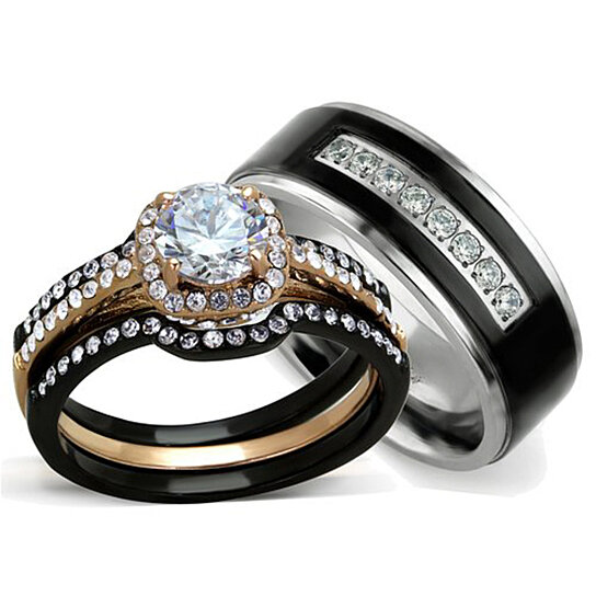 Buy Hers His 3 Pc Rose Gold Stainless Steel Wedding Ring Set