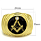 Stainless Steel 14K Gold I.P. Crystal Masonic Lodge Freemason Ring Men's Sz 8-13