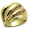 Stainless Steel 14K Gold Plated Light Rose Crystal Cocktail Ring Women's Sz 5-10