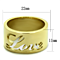 Stainless Steel 316 Gold Plated 11Mm Wide Love Wedding Band Ring Sizes 5-10