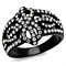 Stainless Steel Black Ion Plated Bow Design Crystal Fashion Ring Women's Sz 5-10
