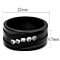 Stainless Steel Black Ion Plated Cubic Zirconia Fashion Ring Band Womens Sz 5-10