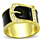 Stainless Steel Gold Plated Epoxy & Crystal Buckle Fashion Ring Women's Sz 5-10