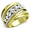 Stainless Steel Gold Plated Top Grade Crystal Anniversary Ring Women's Sz 5-10
