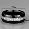 Stainless Steel & Jet Black Ceramic Crystal Wedding Band Ring Women's Size 6-8